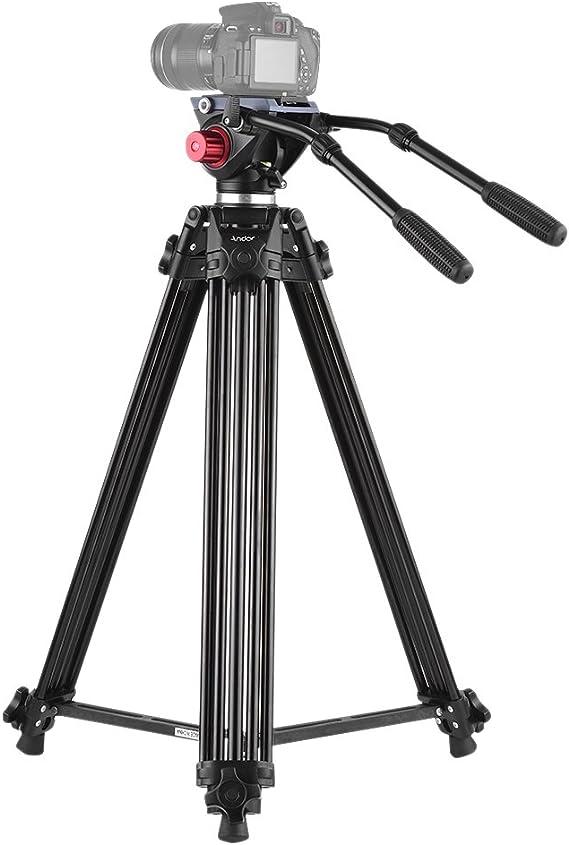 Trípode Andoer 180cm Trípode Pro de Cámara Video de Aleación de Aluminio con Doble Manejado Cabeza Fluid placa de zapato rápido 1/4 y 3/8 para Canon Nikon Sony Panasonic DSLR Grabadora DV,Bolsa: