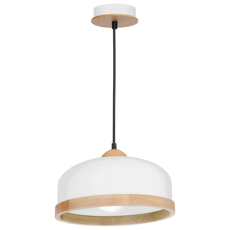 Hängelampe   Hängeleuchte   Deckenlampe 35cm   Holz   Höhenverstellbar   Lounge   Wohnzimmer   Esszimmer   Schlafzimmer   dimmbar   LED geeignet   1x E27 Fassung (Weiß)