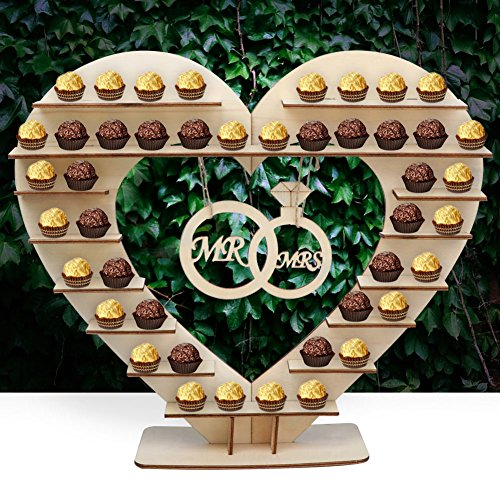 Kisses Wedding Favors - Aerwo Mr & Mrs Chocolate Stand, Ferreo Rocher Wooden Chocolate Stand, Hershey Kisses Wedding Candy Stand, Perfect Decoration for Wedding Reception