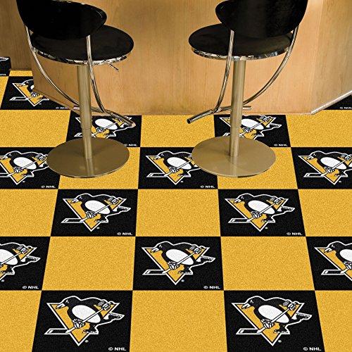 (FANMATS NHL Pittsburgh Penguins Nylon Face Team Carpet Tiles)