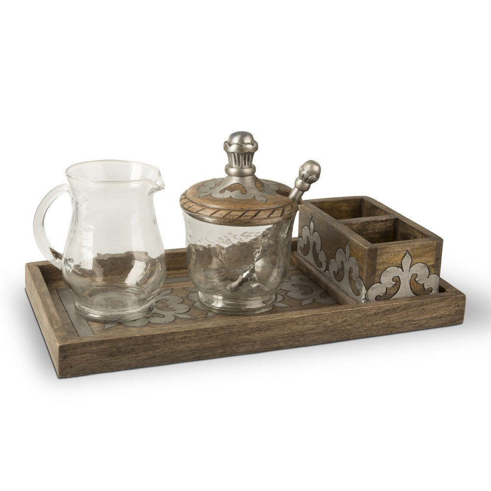 """14"""" Rustic Brown Decorative Tray with Cream and Sugar Set"""