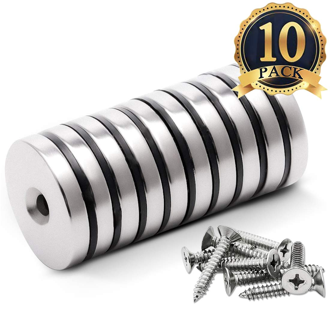 FINDMAG 10 Pack 1.26''D x 0.2''H Neodymium Disc Countersunk Hole Magnets. Strong, Permanent, Rare Earth Magnets, with 10 Screws