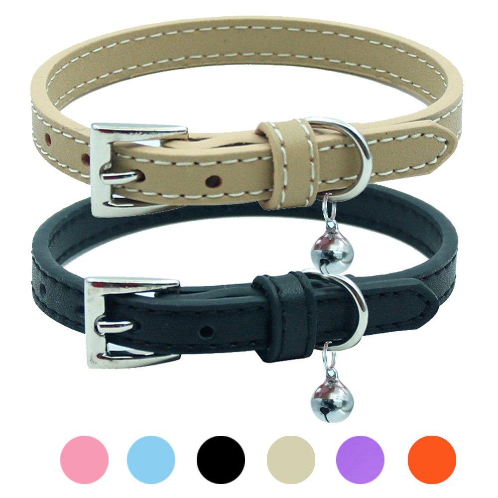 2 PCS Soft Leather Cat Kitten Collar-Orange, Purple, Black, Khaki, Pink, Blue Beibao PUP18CC01_BK
