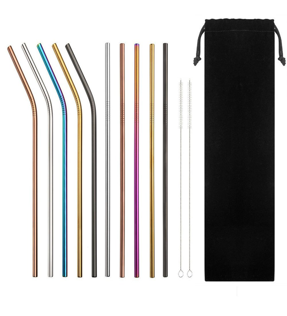 Reusable Stainless Steel Drinking Straws for 20/30oz Tumblers Cold Beverage,VERYLULU 10PCS 10.5'' Extra Long Metal Straws with 2 Cleaning Brush and Carry Bag,FDA-Approved Ecofriendly Straw(Multicolor)