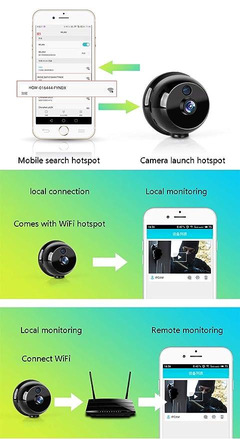 OMZBM 1080P HD 360 ° Girar Wireless WiFi Mini Cámara Smart Home Portátil Pequeña App Cámara De Vigilancia De Seguridad con Detección De Movimiento ...