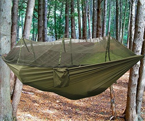 Outdoor Gear (EIALA Camping Hammock, Mosquito Net Outdoor Hammock Travel Bed Lightweight Parachute Fabric Double Hammock For Indoor, Camping, Hiking, Backpacking, Backyard (Army)