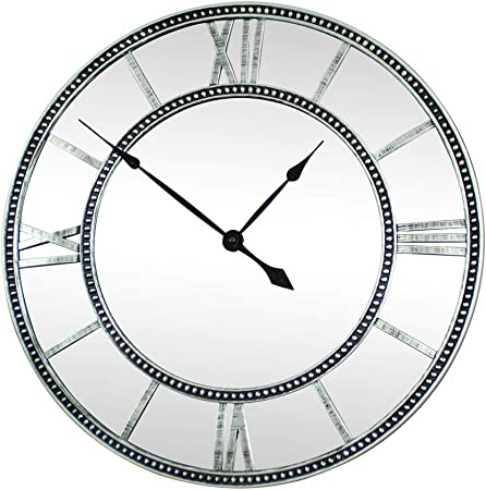 Melody Maison Large Mirrored Skeleton Style Wall Clock With Roman Numerals Amazon Co Uk Kitchen Home
