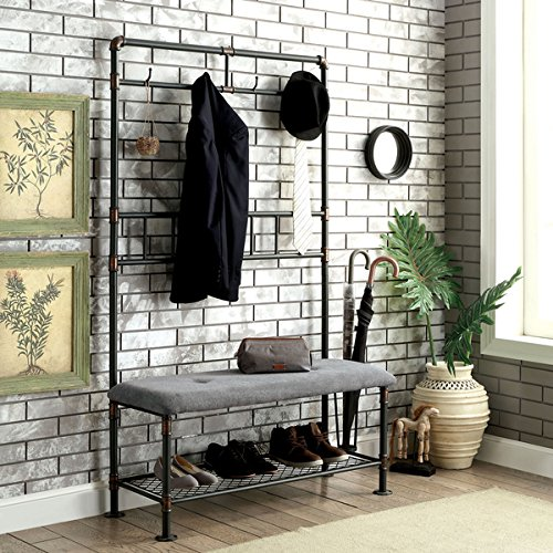Furniture of America Revo Industrial Pipe-Inspired 45-inch Sand Black Hallway Bench with Coat Hooks (Macy's Patio Furniture Clearance)