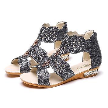 53a0b6d19424e Amazon.com: Women's Sandals, BOLUBILUY Peep Toe Rivet Flat Belt ...