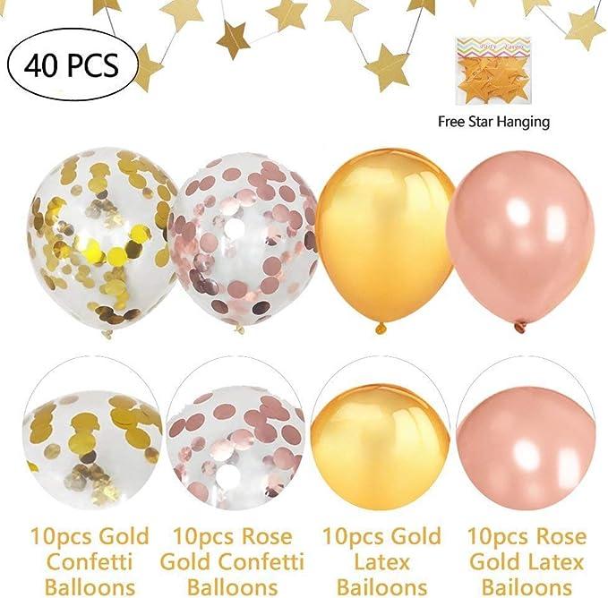 8pcs Rose Gold Foil Balloon with 2pcs Balloon Ribbon for Birthday Wedding Hen Party Supplies 12inch 30pcs Rose Gold Latex Confetti Balloons Rorchio 40pcs Rose Gold Balloon Set