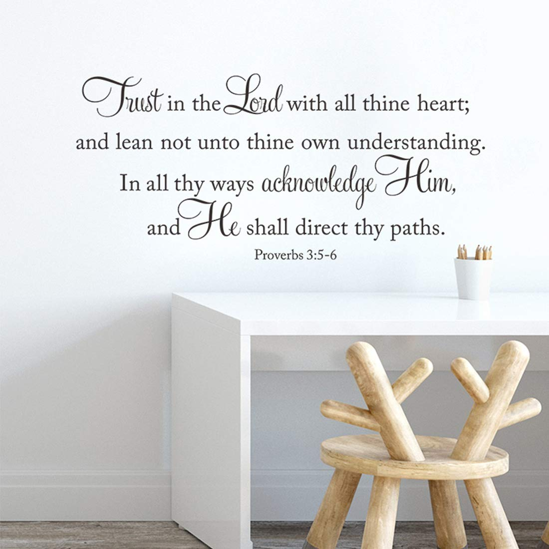 Bible Verse Scripture Inspirational Room Decor Quotes for Living Room – Trust in The Lord with All Thine Heart – Wall Decor for Bedroom Classroom Playroom Nursery