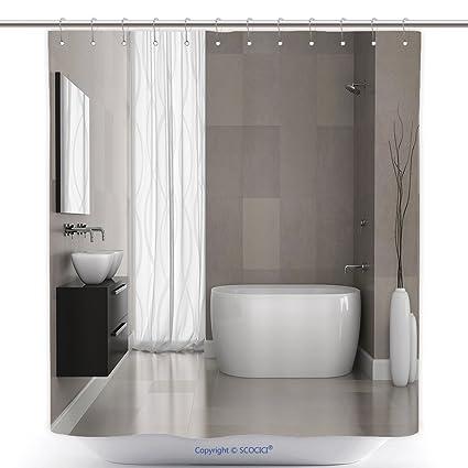 Vanfan Polyester Shower Curtains Interior Modern Bathroom Grey Tiles Wall D Rendering
