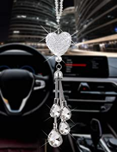 Heart Car accessories for men and women, cute Bling car decoration accessories, Lucky Hanging Interior Ornament Pendant Sun Catch Car Rear View Mirror Charms Decor (White)