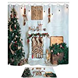 NYMB New Year Festival Decor, Christmas Tree Fireplace and Presents for Family, 69X70in Mildew Resistant Polyester Fabric Shower Curtain Set 15.7x23.6in Flannel Non-Slip Floor Doormat Bath Rugs