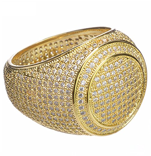 Hip Hop Iced Out Men Luxury Fashion Rock Golden All Around CZ Band Double Round Style Pinky Ring / G15644-7 (10)