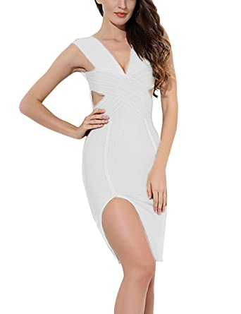 Maketina Women Deep V Neck Cut Out Bodycon Dress Side Slit Club Bandage  Pencil Dress White 1b368af3b