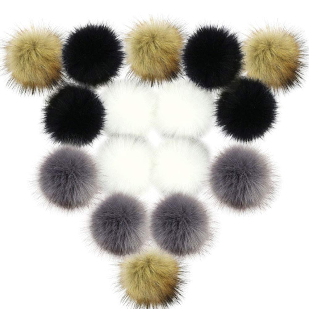 XINRUI 16 Pcs Fur Pom Pom, Faux Fluffy Pompom Ball for DIY Keychain Knitting Hat Accessories