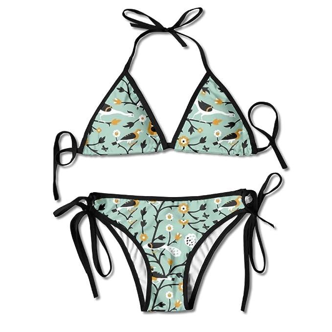 Floral Birds Push Up Bandeau Bathing Suit Bikini Set Women/'s Swimsuit Beachwear