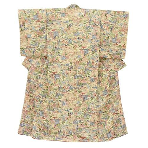 (着物ひととき) リサイクル 小紋 中古 正絹 縮緬 こもん 花文様 裄66cm 黄系 裄Lサイズ 身丈Mサイズ ll1677b