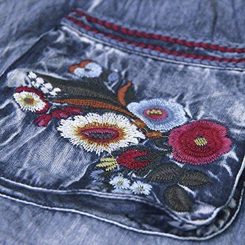 Midi Partykleid Langarm A LHA6552 Denim DISSA Blau Linie Kleider Damen Kleid wzBfRqXx