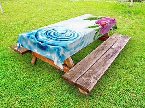 Lunarable Floral Outdoor Tablecloth, Natural Inspired Relaxation Orchid Petals down on Water Spa Meditation Zen Concept, Decorative Washable Picnic Table Cloth, 58 X 84 Inches, Multicolor by Lunarable