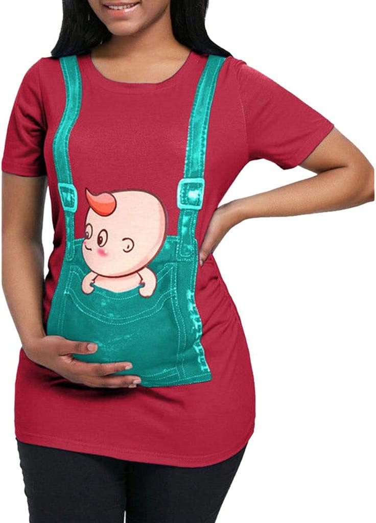 Women Cute Maternity Tops Funny Short Sleeve Pregnancy Tops Novelty All Day Comfort Tops for Summer Wearing