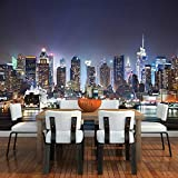New York City Skyscrapers At Night Skyline Wall Mural Cityscape Photo Wallpaper available in 8 Sizes Gigantic Digital