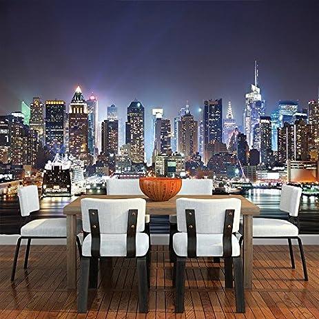 Amazoncom New York City Skyscrapers At Night Skyline Wall Mural