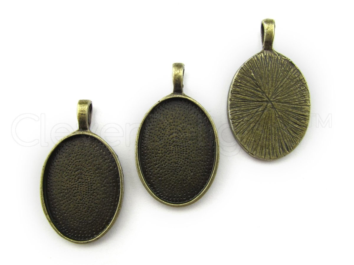 10 CleverDelights Oval Pendant Trays - Antique Bronze Color - 18 x 25 mm - Pendant Blanks Cameo Bezel Cabochon Settings - 11/16' x 1' - 18x25mm