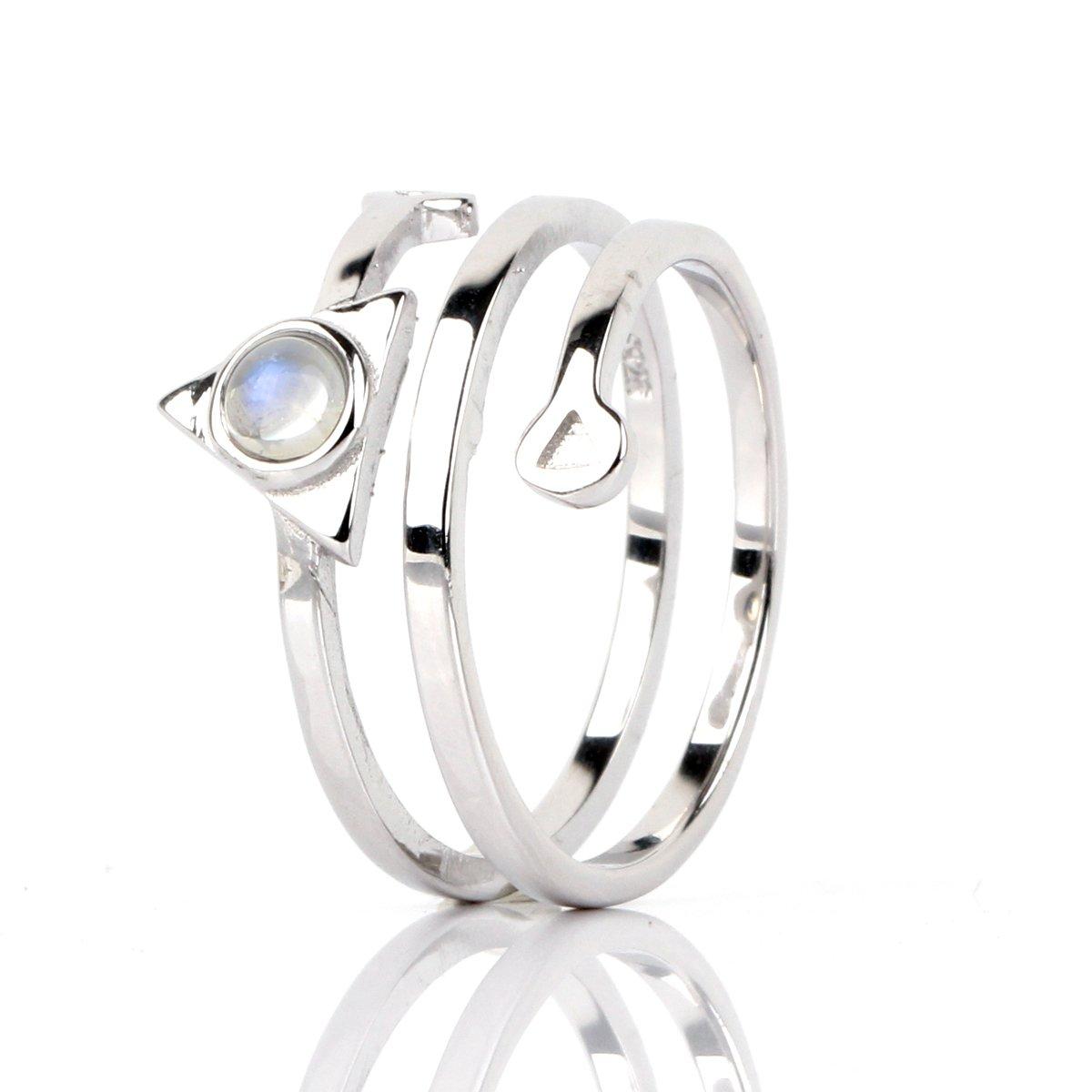 Luna Azure Natural Moonstone 925 Sterling Silver Adjustable Unisex Ring