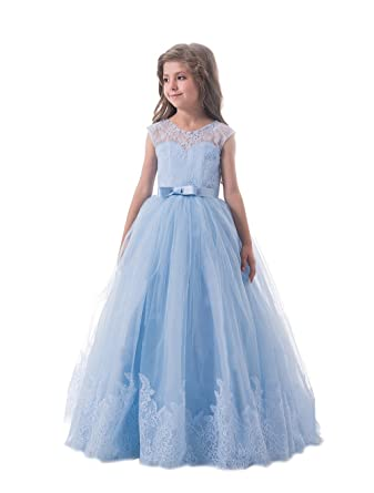 c3c9540047031 Lilis Lovely Princess Tulle Lace Appliques Flower Girls Dresses Sleeveless  Pageant Gowns
