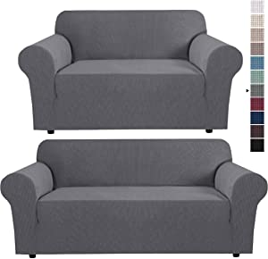 Stretch Loveseat Cover Bundles Sofa Slipcover, Furniture Protector, Plaid Pattern, Removable and Washable, Gray