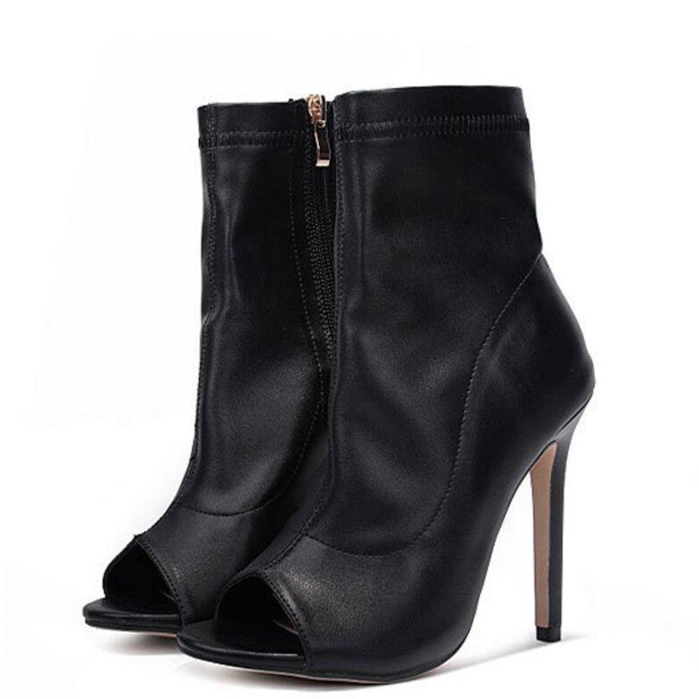 GAOLIXIA Frauen Damen Open-Toe Stiefel PU Frühling Sommer Sandalen elastische Reißverschluss High Heels schwarz