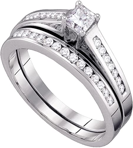 Amazon Com Gemapex Solitaire Princess Diamond Engagement Ring
