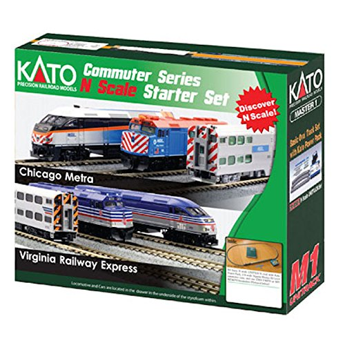 Kato USA Model Train Products N F40PH and Gallery Bi-Level Commuter Series Chicago Metra UNITRACK Starter Set - Model Train Crossing