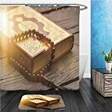 Beshowereb Bath Suit: ShowerCurtian & Doormat islamic holy book quran 599743919