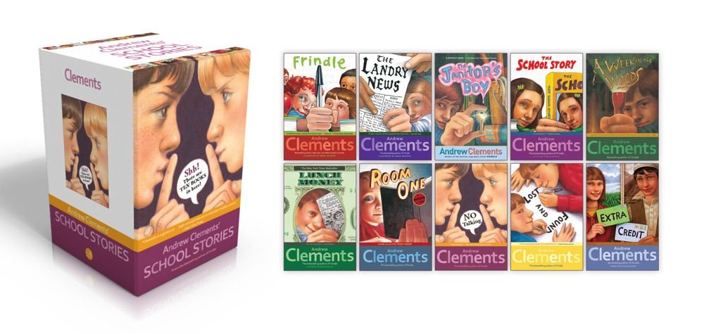 Andrew Clements' School Stories: Frindle; Landry News; The Janitor's Boy; The School Story; A Week in the Woods; Lunch Money; Room One; No Talking; Lost and Found; Extra Credit by Brand: Atheneum Books for Young Readers (Image #2)