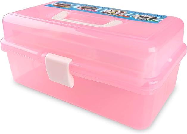 Caja de plástico con 3 bandejas para lápices, pinturas, pasteles y accesorios de manualidades.: Amazon.es: Hogar