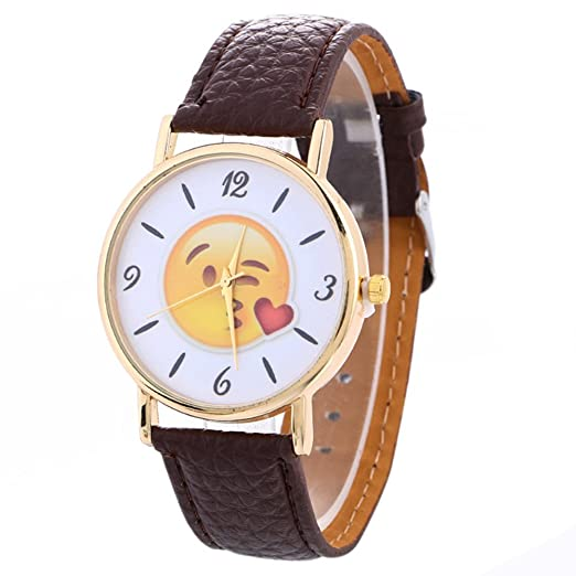 Watches Relojes loveso 2017 Fashion Cute Emoji Leather banda Quartz Wrist Watch _ Marrón: Amazon.es: Relojes