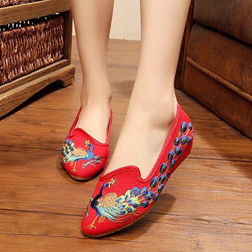WXT Zapatos bordados finos, lenguado del tendón, estilo étnico, zapatos femeninos, manera, zapatos de lona cómodos, exquisitos Red