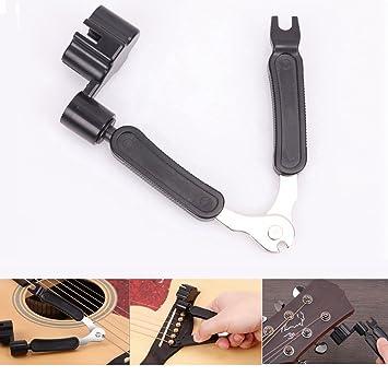 Guitarra cortador de cuerdas y pasador de puente, 3 en 1 multifuncional herramienta de mantenimiento