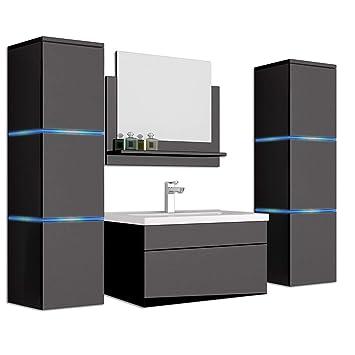 Home Deluxe Badmöbel Set Wangerooge Schwarz Xl Inkl
