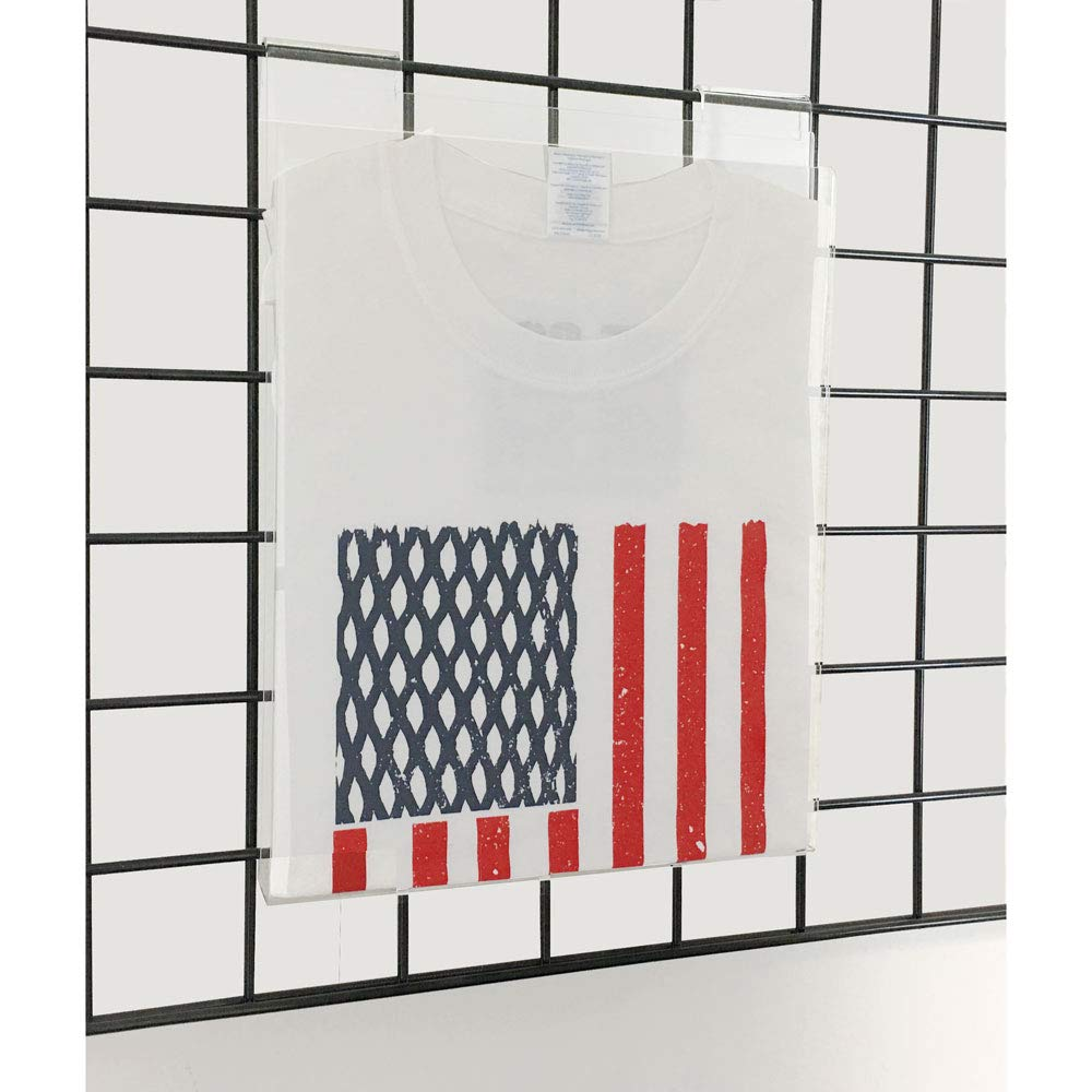 EZ-Mannequins Gridwall Acrylic T-Shirt Display W/White Plastic Insert - Works with Grid Wall Panels