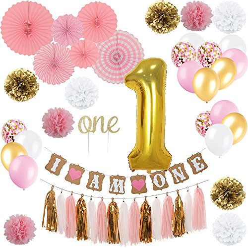 "YAYJOY First Birthday Decoration Set for Girl,Number 1 foil Balloon, I AM ONE Banner, ""ONE"" Cake Topper,Fiesta Pink Hanging Paper Fan Flower,Tassel Garland,Pom Poms and Latex Balloon by YAYJOY"