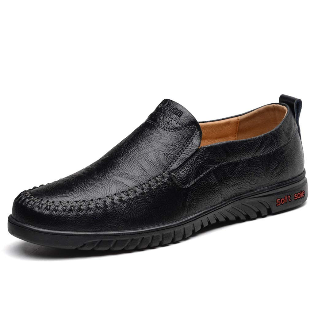 Corriee Gift Idea Mens Lazy Shoes Leisure Slip On Flat Leather Shoe Comfortable Loafers Work Shoes Black