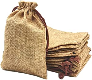 LYSXP 50PCS 3x4inch Burlap Bags with Drawstring and Cotton Lining Jewelry Pouches Sacks Bag for Wedding Favors Party DIY Craft (Coffee, 3x4Inch)