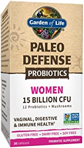 Garden of Life Paleo Defense Probiotics Women 15 Billion CFU, 30 Capsules - 12 Paleo Probiotics, Mushrooms, Female, Digestive & Immune Health Probiotic Supplement, Non-GMO - Gluten, Dairy & Soy Free