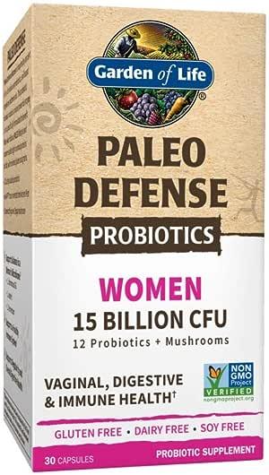 Garden of Life Paleo Defense Probiotics Women 15 Billion CFU, 30 Capsules - 12 Paleo Probiotics, Mushrooms, Female, Digestive & Immune Health Probiotic Supplement, Non-GMO - Gluten, Dairy & Soy Free