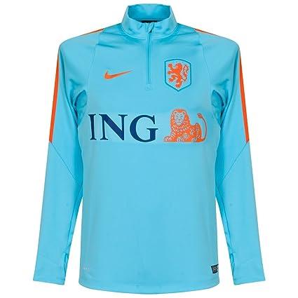 Nike KNVB Drill Top - Camiseta de fútbol para Hombre, Color Azul Claro/Naranja