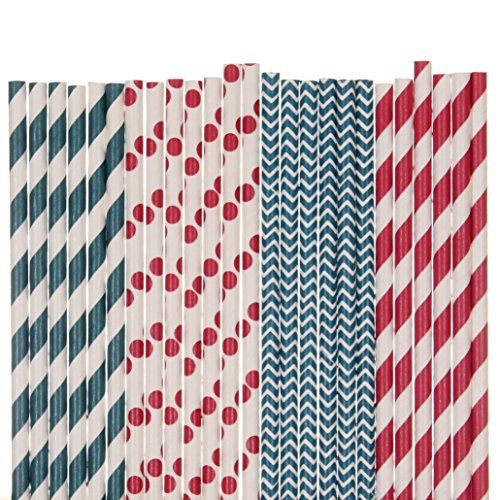 Red, White and Navy Blue Straw Mix - Chevron, Striped, Polka Dots (75) by Creative Juice Cafe